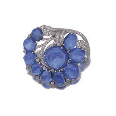 Sapphire and diamond brooch, Caldwell, 1930s