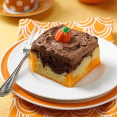 Halloween Poke Cake from Taste of Home.  Fudge Marble Cake mix and Orange Jello.