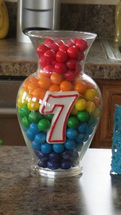 Rainbow Gumball Centerpiece - great idea for a birthday party
