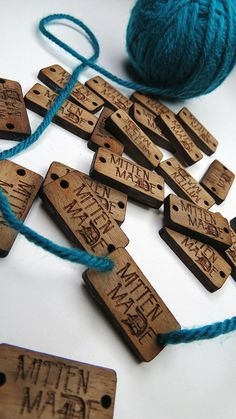 5 x 1 Custom Wood Tags - Knitting Tags