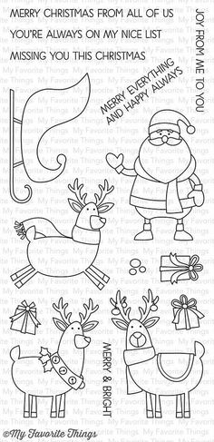 "MFT STAMPS: Merry Everything (4"" x 8.5"" Clear Photopolymer Stamp Set) This package includes Merry Everything, a 15 piece set including: - Santa1 7/8"" x 2 3/8"" - Sleigh 2 3/8"" x 1 ½"" - Flying Deer 1 7/"