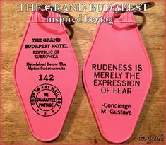 On SALE!  IN PINK - The Grand Budapest Hotel Inspired Key