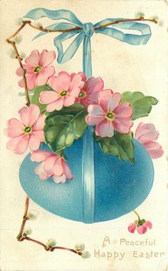 pussy-willow  & pink polyanthus over blue  hanging egg.