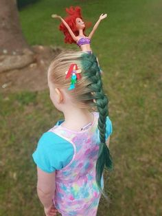 For crazy hair day at school. Leave out the barbie and just have a mermaid tail! - For crazy hair day at school. Leave out the barbie and just have a mermaid tail! For crazy hair day at school. Leave out the barbie and just have a mermaid tail! Crazy Hair For Kids, Crazy Hair Day At School, Crazy Hair Days, Crazy Girls, Crazy Hair Day Girls, Hair For Little Girls, Hair Ideas For School, School Hair, Girl Hair Dos