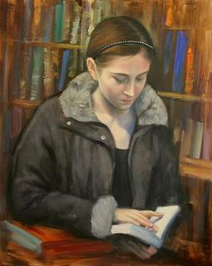 """""""A Girl reading at Library"""" - Original Fine Art for Sale - © Chin H Shin"""