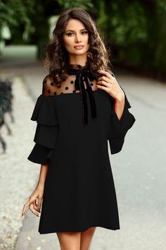 Rochie Vera Neagra 229 lei Rochie eleganta neagra cu volane la maneci Bali, Cold Shoulder Dress