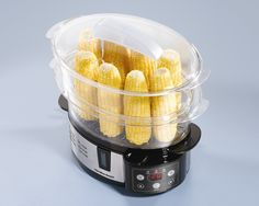 Hamilton Beach digital electric steamer steams ears of corn when divider is removed