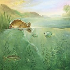 Watercolor Paper Print, Giclee, Isabella, bunny,easter, children wall art,animal. $18.00, via Etsy.