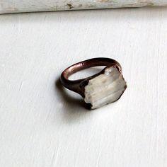 Kunzite Copper Ring Lavendar Gem Stone Artisan Raw Gem Organic Artisan Handmade. $68.50, via Etsy.