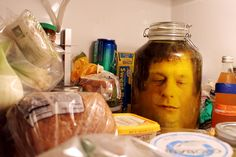 Picture of head in a jar prank