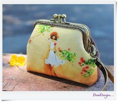 Wristlet clutch with leather strap Two compartment by DooDesign