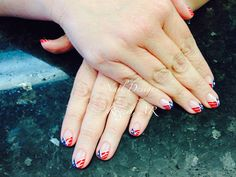 Shellac nail with new twist of flags design
