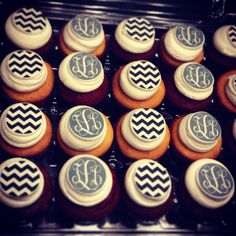 Monogram and Chevron Cupcakes