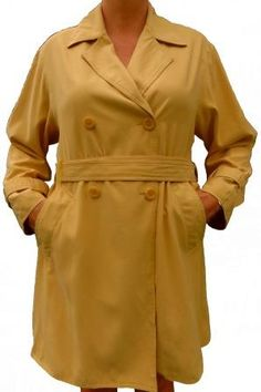 An Amici loose fit double breasted all weather ladies coat in a light suede like feel fabric. A beautiful light mustard,flimsy coat in excellent condition. Soft Light, Beautiful Lights, Italian Style, Coats For Women, Double Breasted, Ties, Weather, Belt, Pockets