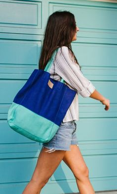 Blue + Turquoise Suede Bucket Bag | Handcrafted from Sseko Designs