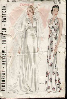 """Pictorial Review 9071 circa 1931 (1938?) Wedding or Evening Gown. """"To the strains of Lohengrin's Wedding March you will unfalteringly glide down the aisle if you wear this stately gown with it concave diaphragm, deftly draped bodice and pleated train. In View 2 you have a stunning evening gown with upper blouse back omitted."""" From Vintage Patterns Wikia."""