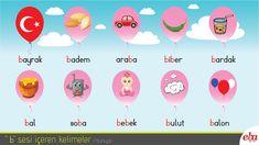 Yabancılara Türkçe öğretimi için B sesi içeren kelimeler.