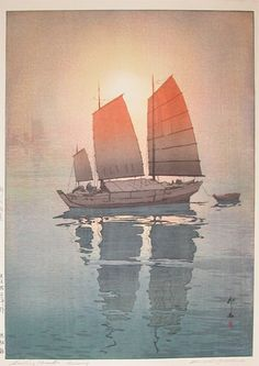 "Hiroshi Yoshida - This is the print I want to go with my ""A ship in the harbor is safe. But that is not what ships were built for.""  Beautiful..."