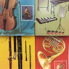 Musical Instruments Posters Set Orchestra Vintage
