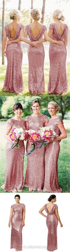 Short Sleeve Bridesmaid Dresses Backless, Column Scoop Neck Bridesmaid Dress Sequined, Long Bridesmaid Dresses Modest