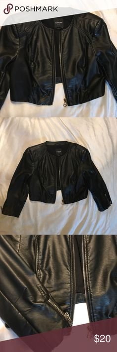 Bebe black leather cropped jacket Faux leather jacket with silver zipper details. Sleeves are 3/4 length. Like new. Worn once. bebe Jackets & Coats Blazers