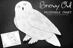{ Snowy Owl Printable Craft } language arts unit on Harry Potter! Harry Potter Owl, Theme Harry Potter, Harry Potter Birthday, Owl Printable, Printable Crafts, Bird Crafts, Animal Crafts, Birds Of Prey, Artic Animals