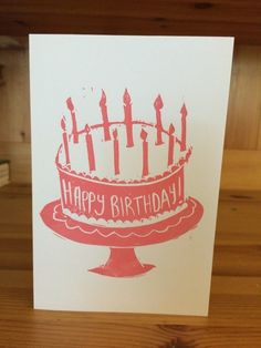 Hand-printed Lino Cut Birthday Card £2.50
