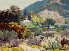 hanson puthuff paintings | Hanson Puthuff (1875-1972). Landscape with House. Oil on canvas. 12 x ...