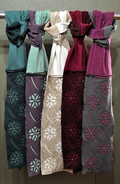 Upcycled Cotton Scarf with Handsewn Reverse Applique by banshii, $68.00