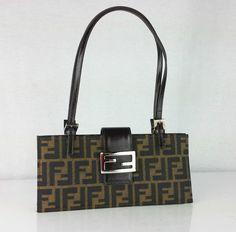 FENDI  Zucca  Small Handbag Purse Shoulder Bag Baguette Logo Print AUTHENTIC