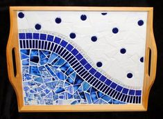 Paris Cafe Mosaic Serving Tray by brendapokorny on Etsy Mosaic Tray, Mosaic Tile Art, Mosaic Pots, Mosaic Artwork, Mosaic Crafts, Mosaic Tables, Mosaic Designs, Mosaic Patterns, Mosaic Pieces