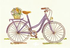 Bicycle Watercolor - Lavender Bike - Flower Bicycle - Sweet Summer - 8x10 Print - Purple, Tour De France - Bike Rack - Womens Bike