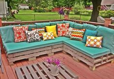 Furniture, Charming Turquoise Pads With Pallet L Shaped Sofa And Colorful Cushions Also Pallet Coffee Table In Backyard With Wooden Deck And...