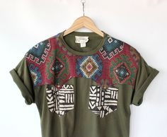 Vintage 80s Southwestern Woven Yoke Cropped Top Tee // Navajo Pocket Tshirt. $26.00, via Etsy.
