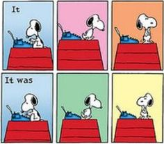 """Snoopy hard at work. The whole """"Dark & Stormy Night"""" sequence perfectly describes a lot of writing nightmares and inner debates."""