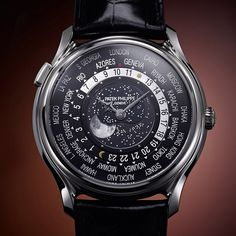Patek Philippe World Time Moon Ref. largest representation of moon phases in a Patek Philippe wristwatch. Patek Philippe World Time, Bangkok, Patek Watches, Patek Philippe Aquanaut, Limited Edition Watches, Luxury Watches For Men, Modern Watches, Beautiful Watches, Cool Watches