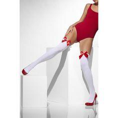 Val op met de Witte Kousen met Rode #Strikjes van jouw favoriete lingeriewinkel Playwear.nl! #lingerie #lingeriewinkel #lingeriestore #play #playwear #playwearnl #sexy #panty #beautiful #beenmode #hebben #opvallen #is #leuk #mooi