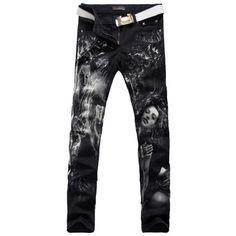 36.79$  Watch now - http://alizn9.worldwells.pw/go.php?t=32750627450 - Men's fashion grape beauty girl print jeans Male casual slim fit straight denim pants 36.79$