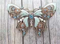 Vintage Signed AVON large enamel and rhinestone butterfly