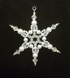 Snowflake Ornament - Suncatcher - Decoration  - White Pearl and Clear AB. via Etsy.