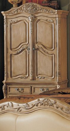French Provincial Style TV Armoire in Whitewash Finish