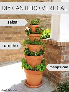 Gardening Herb A great way to save space, grow herbs, and add some curb appeal :-) - This DIY Vertical Planter is the perfect garden option for those with limited space. Grow your own herbs or flowers in this easy to maintain vertical planter. Plantador Vertical, Jardim Vertical Diy, Vertical Planter, Vertical Garden Diy, Vertical Gardens, Tiered Planter, Herb Garden Planter, Herb Planters, Plant Pots