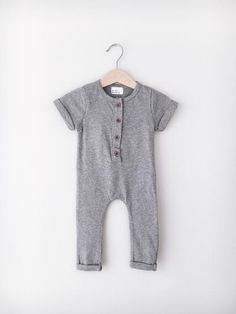 Minibasic Gray Buttoned Romper for baby and toddler on www.mintedmethodshop.com  Baby Fashion, Baby Basics, Baby Romper, Cute Baby, Toddler Fashion