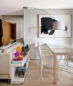 http://www.arquitrecos.com/2014/11/aparador-atras-do-sofa-ampliando-as.html blog de decoração - Arquitrecos: Aparador atrás do sofá - Ampliando as funções do espaço. I like this living area design.....