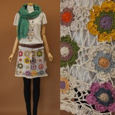 crochet flower motif skirt
