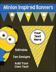 Minion inspired editable pennants.  Add a little fun and whimsy to your classroom decor!