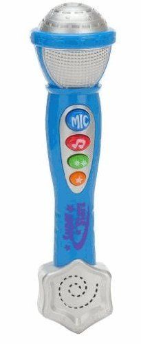 "Light & Sound Microphone by Bruin. $17.69. Little kids can sing their hearts out with this blue Bruin Light and Sound Microphone, a Toys 'R' Us exclusive. The easy-to-hold mic features 4 large buttons: a ""Mic"" button turns on singing mode, the Note button plays 3 melodies, the 2-Star button adds rhythm sounds, and the Single Star button adds cymbals. Pressing either of the star buttons or the note button also makes the mic light up! No assembly required. Dimensions: 10""L x 2..."