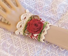 Red and Green Lace Cuff, Victorian Lace Cuff Bracelet, Lace Wrist Cuff, Christmas Jewelry, Victorian Jewelry, Upcycled Jewelry by LaVieilleLune on Etsy https://www.etsy.com/listing/92389483/red-and-green-lace-cuff-victorian-lace