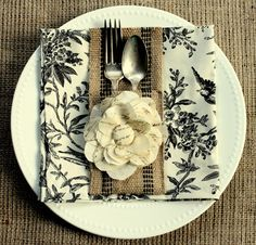 Burlap Silverware Sleeve DIY, nice for a Fall Table. w/ a Tutorial for making the flower too!