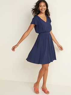 Waist-Defined V-Neck Flutter-Sleeve Dress for Women   Old Navy Navy Dress Outfits, Dresses For Sale, Summer Dresses, Women's Dresses, Family Picture Outfits, Old Navy Women, Flutter Sleeve, A Line Skirts